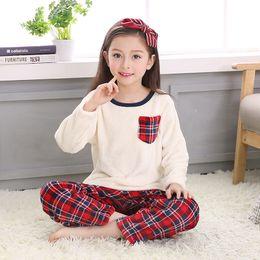 Wholesale Girls Nightgown Sets - Wholesale- New Girl Children Coral Fleece Pajamas Sleepwear Homewear Pyjamas Unisex Plaid Flannel Pajama Set Winter Warm Bathrobe Nightgown