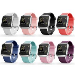 Wholesale Best Quality Wrist Watch - Best Quality 8 Colors Luxury Silicone Watchband Replacement Wrist Band Silicon Strap For Fitbit blaze Smart Watch Bracelet