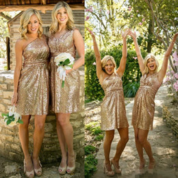 Wholesale Cocktail Long Dress For Bridesmaid - 2016 Pink Rose Gold Bridesmaid Dresses Short Honor Of Maid Formal Gown For Wedding Party Guest One Shoulder Backless Sequins Cocktail Dress