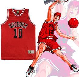 Wholesale Cosplay Slam Dunk - Wholesale-SLAM DUNK Cosplay Shohoku School Basketball Team No.1-15 Sakuragi Hanamichi Cosplay Costume Jersey Tops Shirt Sports Wear Vest