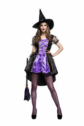 Wholesale Magician Costume Women - Exclusive Dovetail Witch Dress Women Halloween Magician Cosplay Costume Sexy Fairy Tale Elf Dress With Hat