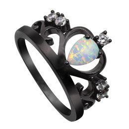 Wholesale Fire Opal Ring Gold - New Arrival Black Gold Plated Elegant Crown Shaped Fire Opal Ring With AAA Cubic Zircon Best Gift Wedding Ring BR025 White Opal