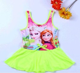 Wholesale Swimsuits For Baby Cartoons - Baby Girls Cartoon Swim Suit Children's Frozen Swimsuit Big Size Elsa&Anna Girl Swimwear 2016 Hot Sale Discount Swimming Suit For Girl