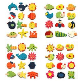 Wholesale Wooden Magnets Kids - Baby Kid Wooden Magnet Educational Toy Kitchen Fridge Cartoon Funny Gift H1139