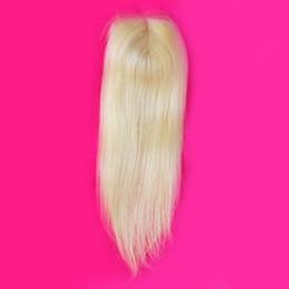 Wholesale Lace Front Part Closure - 9A Virgin Peruvian Blonde 4x4 Lace Top Closure Bleached Knots Silky Straight #613 Blonde Lace Front Closure Hair Pieces Middle Parting