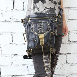 Wholesale Men Shoulder Bag Fanny Pack - New Women MEN Outdoor Rock Leather Vintage Gothic Waist Fanny Pack Shoulder Bag Punk Rock Messenger Handbag Leather Waist Bag
