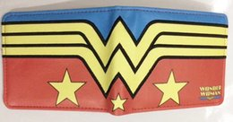 Wholesale Blue Wonder Black - Anime Wallets Wonder Woman Mens Wallets Female Purse Short Slim Money Photo Pockets Cards Holder Cartoon Leather Balso
