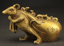 Wholesale Carved Mice - chinese HANDWORK COPPER CARVED MOUSE PURSE GET RICH lucky STATUE home decoration