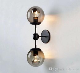 Wholesale Hanging Sconce Glass - Nordic American modo wall light glass wall sconce vanity lights living room ceiling hanging wall lamp bed loft black iron modern lights