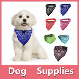 Wholesale Scarves Male - Colorful Adjustable Pet Small Dog Puppy Cat Neck Scarf Bandana with Leather Collar Neckerchief With 7 colors