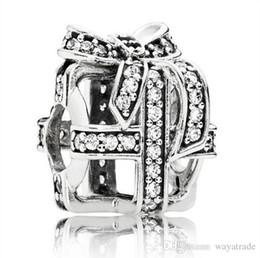Wholesale Pandora Ribbon - Hot Sale Crystal With Ribbon Present Charm 925 Sterling Silver European Charms Bead Fit Pandora Bracelet Snake Chain Fashion DIY Jewelry 129