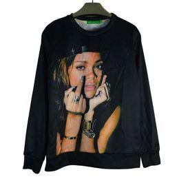 Sudaderas con capucha rihanna online-Venta caliente nuevo cantante famoso Rihanna suéter de manga larga cuello redondo de cobertura de las mujeres otoño / primavera / invierno sudaderas con capucha