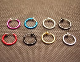 lip piercing hoops Coupons - Colorful Nose Ring Lip Ear Nose Clip On Fake Piercing Nose Lip Hoop Rings Earrings ear clip body jewelry QQ
