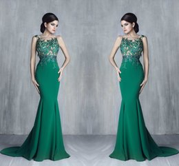 Wholesale See Through Laced Dress - 2016 Tony Chaaya Hunter Green Arabic Evening Dresses See Through Satin Mermaid Prom Dresses Lace Beaded Evening Gowns