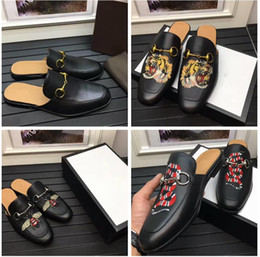 Wholesale Closed Toed Sandals - Men g g mules loafers designer slippers Luxury Brand slides closed toe Moccasins Genuine leather tiger bee snake Scuffs sandals for women