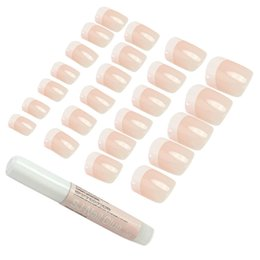 Wholesale Black False French Nails - 24pcs Fashion Pink French Style False Fingernail Fake Nails Acrylic Artificial Full Nail Art Tips Press On Manicure Beauty