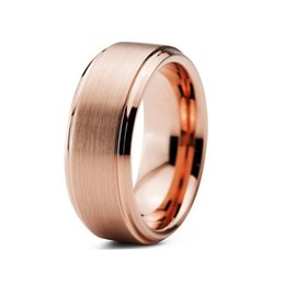 Wholesale Nice Wedding Rings For Men - Nice rose gold plated tungsten wedding band for men in 2016 with stepped, beveled and brushed finish