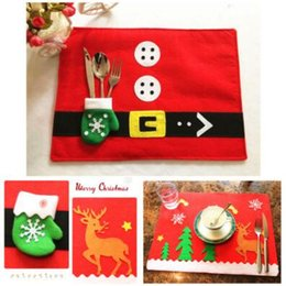 Wholesale Woven Table Mats - Christmas Placemats Knife Fork Mats Xmas Table Mats Santa Claus Decoration Party Pads Dinner Dining Tablecloth Supplies Decor CCA7594 300pcs