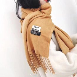 Wholesale Male Cashmere Scarf - ACNE Echarpe Luxury Brand Scarf Unisex 2017 Female Male Canada Wool Cashmere Scarf Pashmina Tassels Women Men Wrap Warm HFXYWJ002