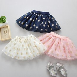 Wholesale Tutu Patterns For Girls - Summer Tutu Skirts For Little Girls Princess Tulle Glod Star Pattern Skirts TUTU Baby Kids Multi-layer Dresses Pleated Skirts 1-5Years Old