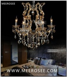 Wholesale Maria Crystal Chandelier Light - Cognac chandelier crystal light with K9 crystal maria theresa style Glass chrystal lighting fixture MDS06 L6 fast shipping