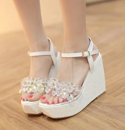 Wholesale Crystal Wedge Wedding Shoes - Glitter Wedding Shoes Cinderalla White Silver Crystal Beading Platform Wedges Sandals 12cm Size 34 To 39