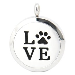 Wholesale Dog Magnets - 30mm magnet dog pet love paw Aromatherapy Essential Oil surgical Stainless Steel Perfume Diffuser Locket Necklace with chain and felt pads
