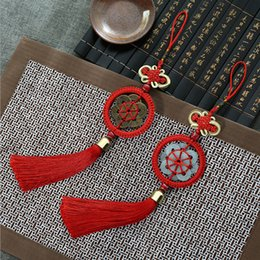 Wholesale Chinese Knot Jade - Exquisite handmade Chinese knot gift tassel pendant big copper plum blossom big jade plum blossom handicraft Chinese knot wholesale