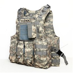 Wholesale Molle Black Vest - Camouflage Hunting Military Tactical Vest Wargame Body Molle Armor Hunting Vest Multifunction CS Outdoor Equipment 5 Colors 2501055