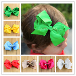 Wholesale Thread For Hair - New 5inch big Hair bow clip 19 colors screw thread Bow Hairpin cotton Duckbill clip for baby Barrettes children hair accessories