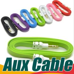 Wholesale Aux Cable Microphone - For iphone 5 ipod ipad mp3 mp4 phone 1M 3ft 2M 6ft 3M 10ft 3.5mm Flat Noodle Audio Cable Stereo Male to Male Car Aux Audio Cables Cords