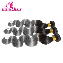 Wholesale Best Selling Hair Color - 2016 Best Selling Ombre Grey Hair Extensions Ombre Malaysian Unprocessed Human Hair Body Wave Two Tone Ombre 1b Grey Color Hair Weaves