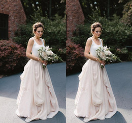Wholesale Romantic Chiffon Dresses - White and Blush Wedding Dresses Bohemian Scoop Ruffles Chiffon 2016 Simple New Beach Bridal Gowns Romantic Custom Made Floor length