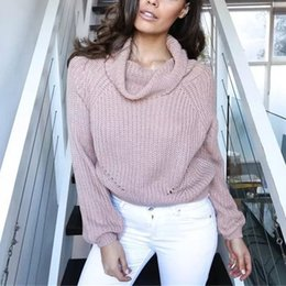 Wholesale Loose Neck Turtleneck - 2017 Autumn Women Vintage Solid Color Fashion Loose Turtleneck Knitted Pullover Sweater RF0441