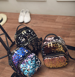 Wholesale High Capacity Gold - 2016 summer The New Europe and America tide backpack Sequin High capacity Travel Backpack College Wind Cartoon handbags