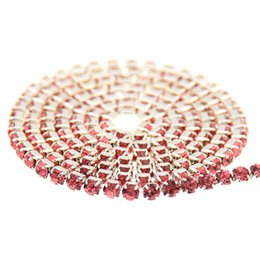 Wholesale Diy Sew Stones - Rose Glass Rhinestones Silver Base Chains Copper Cup Claw Chain Non Hotfix Sew On Crystal Stones DIY Craft Garments Accessories