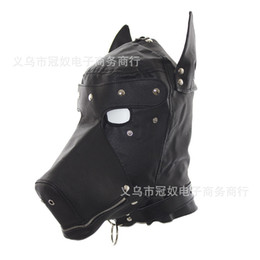 Wholesale Soft Leather Ball Gag - Hot Sex Product New Soft Leather Bondage Face Mask Eyepatch Gagged Headgear Adult BDSM Sex Toy Bed Game Set