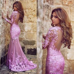 Wholesale Long Dress Plums - 2016 Said Mhamad Mermaid Tulle Applique Lace Plum Prom Dresses Sweep Train Sweetheart Formal Party Evening Dresses Backless