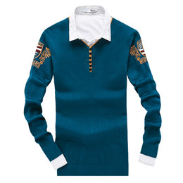 Wholesale Mens Casual Imports - Wholesale-Arm Signature Print Mens Sweaters and Pullovers Button Up V Neck Casual Jumpers For Men 2016 Autumn Winter imported-clothing