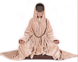 Wholesale Unisex Uniform Pants - Wholesale-4colors unisex winter Warm flannel cape zen monks carpet Lay shawl yoga uniform suit meditation cloak white brown