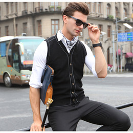 Wholesale Cardigan Sweater Vest Men - New Men's Wool Sweater Cardigan Sleeveless Buttons Down Basic Knit Vest Casual Fashion V Neck Solid Color for Autumn Winter 919