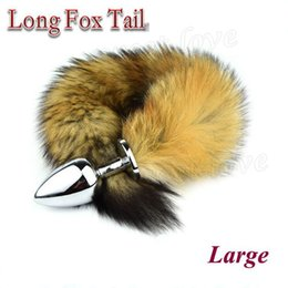 Wholesale Sexiest Anal Toys For Men - 92 * 40mm Metal Anal Butt Plugs with 35cm Long Fox Tail Butt Plug Sexy Funny Toys For Women & Men Sex Products BY DHL