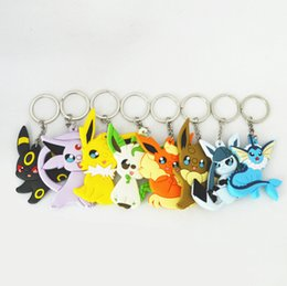 Wholesale Pokemon Figure Collection - New 3D Eevee Pocket Monsters Cartoon PVC Keychain Poke monster Mini Figure pendants charms collection toy Key Ring