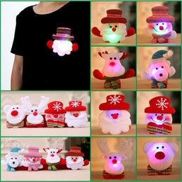 Wholesale Snow Brooch - Children LED Christmas Brooches Snow man Santa Claus Elk Bear Pins Badge Light Up Brooch Christmas Gift Party decoration Kids Toy