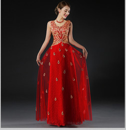 Wholesale Strapless Sexy Sequin Evening Gowns - Evening Dresses Long 2016 Peacock Dress Women Embroidery Formal Evening Gowns Party Prom Dress Robe De Soiree