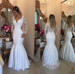 Wholesale Sexy Back Lace Wedding Dresses - Lace Long Sleeve Mermaid Wedding Dresses 2017 Elegant Arabic Floor Length Bridal Vestidos Plus Size Back Covered Buttons Wedding Gowns
