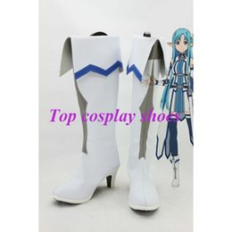 Wholesale Anime Asuna - Wholesale-Freeshipping anime Sword Art Online Asuna Cosplay Boots New Version Custom made for Halloween Christmas