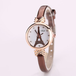Wholesale Crystals Glass Tower - Duoya Brand Fashion Popular Watch Women Tower Crystal Gold Casual Quartz Wristwatches Luxury Leather Ladies Women New Watches