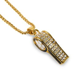Wholesale Rhinestone Whistle - Fashion HipHop Men Gold Chain Necklace 18k Gold Plated Jewelry Whistle Pendant Punk Rock Hip Hop Mens Long Chains Necklaces