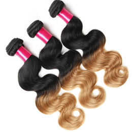 Wholesale Two Tone Remy Color Hair - Ombre Hair Weave 100%Virgin Brazilian Hair Body Wave 3pcs Lot Cheap Human Hair Extension Ombre Color 1B 30 two tone Remy Brazilian Weft